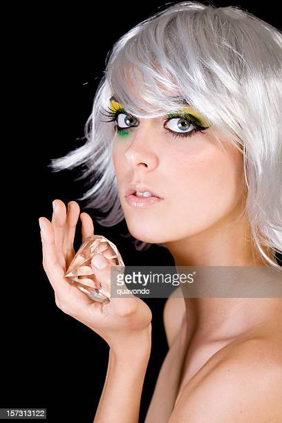 beautiful, seductive female fashion model in wig with diamond, portrait - skin diamond stock pictures, royalty-free photos & images