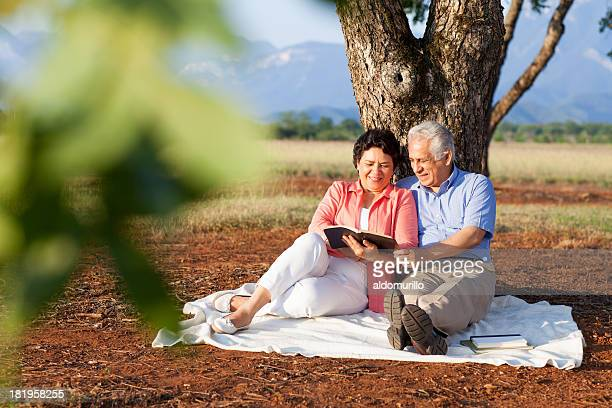 beautiful senior couple relaxing in nature - mexican picnic stock pictures, royalty-free photos & images