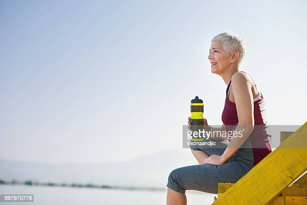 beautiful senior woman exercise - active senior stock photos and pictures