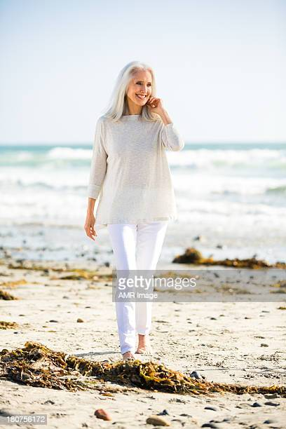 Beautiful senior woman on a beach.
