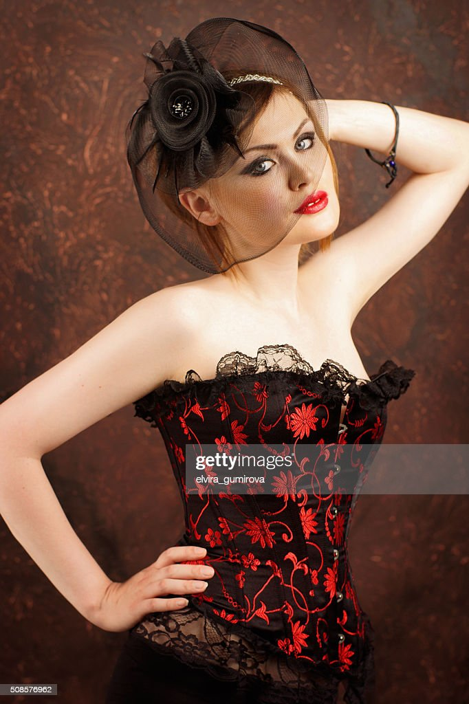 beautiful sexy girl in the corset in vintage style : Stockfoto