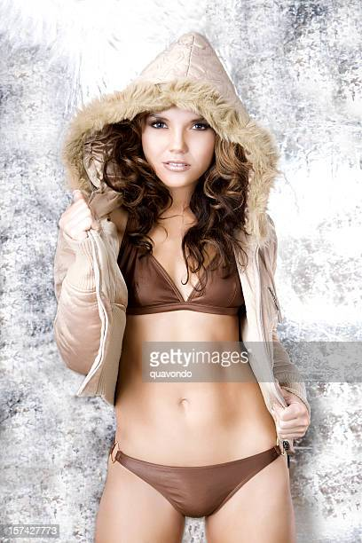 Beautiful, Sexy Latina Young Woman in Bikini and Hooded Jacket