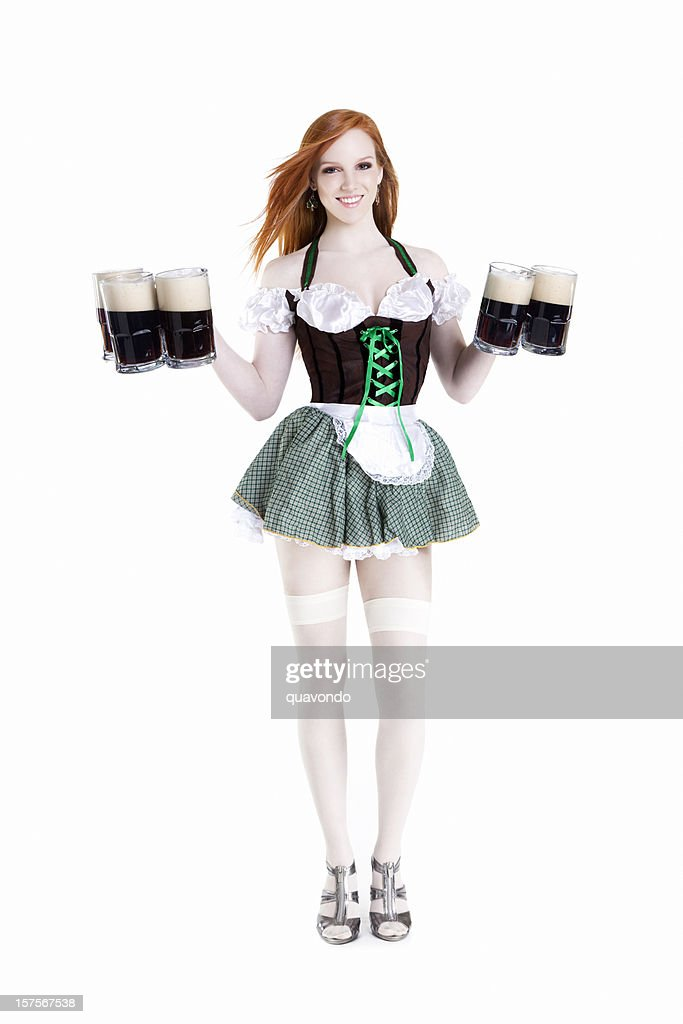Belle et Sexy femme avec tête rouge Saint-Patrick bière, Copyspace