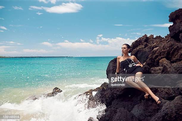 Beautiful Sexy Young Woman Fashion Model on Maui Beach, Copyspace