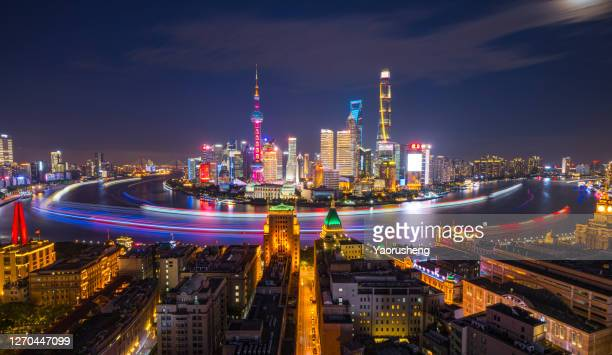 beautiful shanghai city night view - china east asia stock pictures, royalty-free photos & images