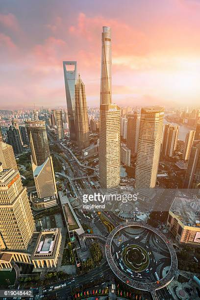 Beautiful Shanghai Pudong skyline  in Shanghai, China