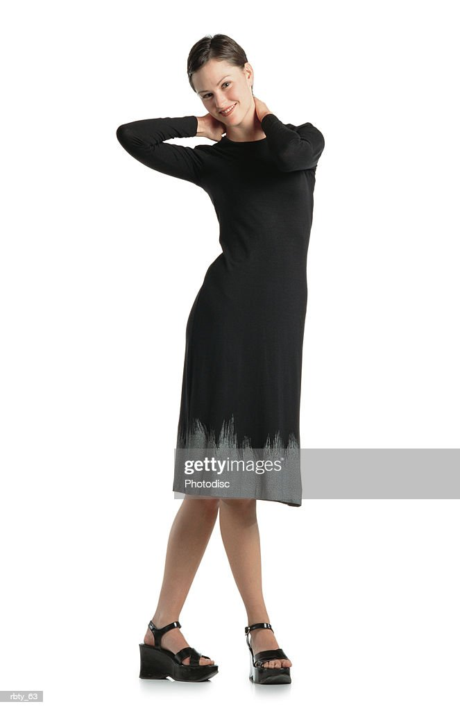 beautiful shapely caucasian woman with short brown hair playfully smiles into the camera : Foto de stock