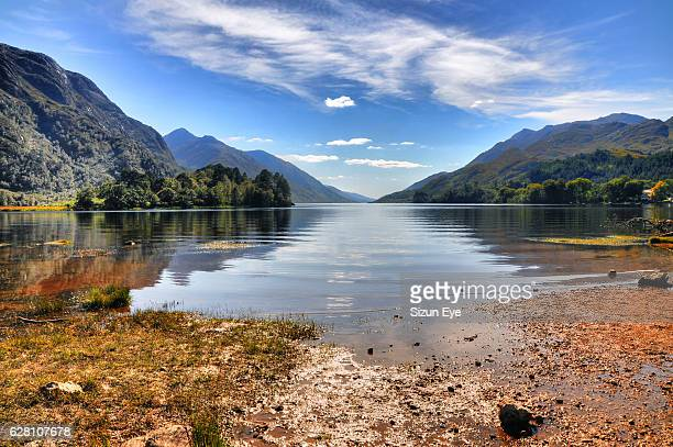 Beautiful shore of the lake Loch Shiel in Glenfinnan at sunny day, Highlands ofScotland.