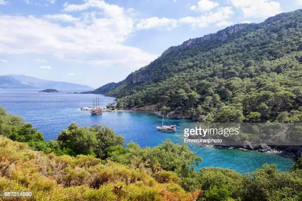 beautiful shores of fethiye,aegean turkey in springtime. - emreturanphoto bildbanksfoton och bilder