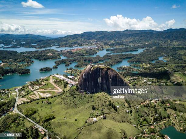 beautiful shot of el peñol of guatape in colombia - colombia stock pictures, royalty-free photos & images