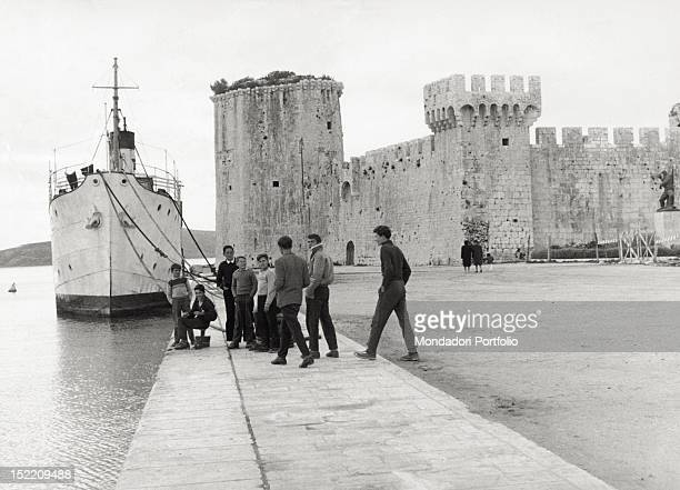 A beautiful sight of the medieval fort of Trogir Dalmatia's UNESCO heritage the town felt the influence of Venetian art Trogir 1961