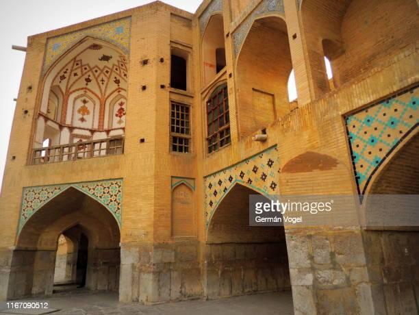 beautiful silk road khaju bridge of isfahan, iran - ハージュ橋 ストックフォトと画像