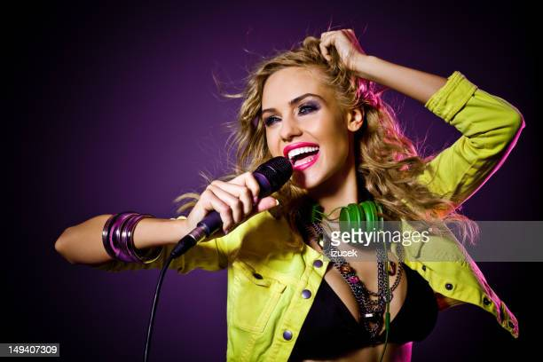 beautiful singer - pop musician stock pictures, royalty-free photos & images