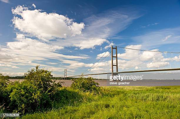beautiful skies over the humber bridge - kingston upon hull stock pictures, royalty-free photos & images