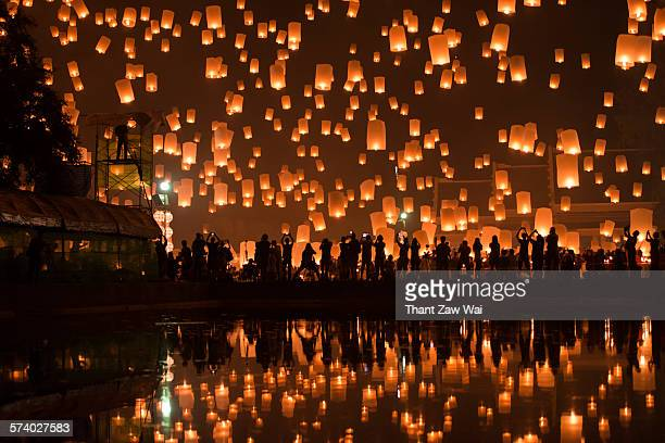 beautiful sky lantern - releasing stock photos and pictures