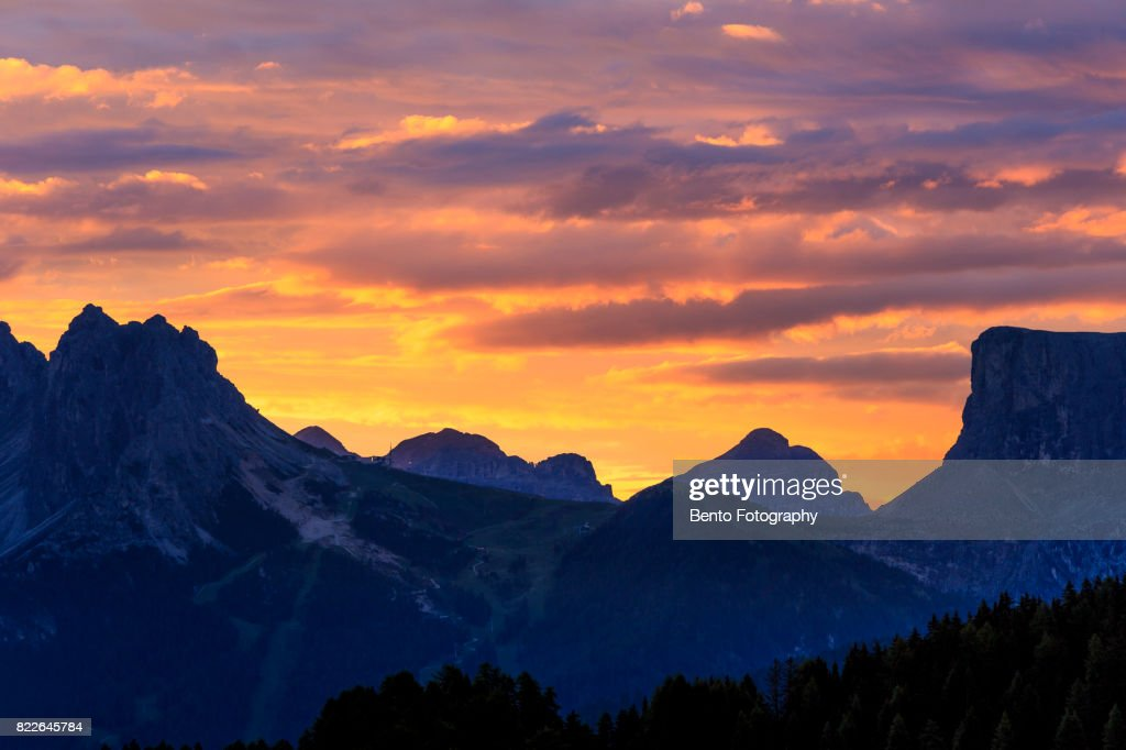 beautiful sky over the mountain in dolomite : Stock Photo