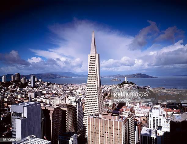 Beautiful sky over Transamerica Tower San Francisco California