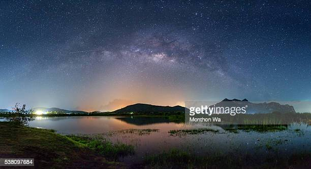 a beautiful sky with the milky way at the sam roi yod national park - prachuap khiri khan province stock pictures, royalty-free photos & images