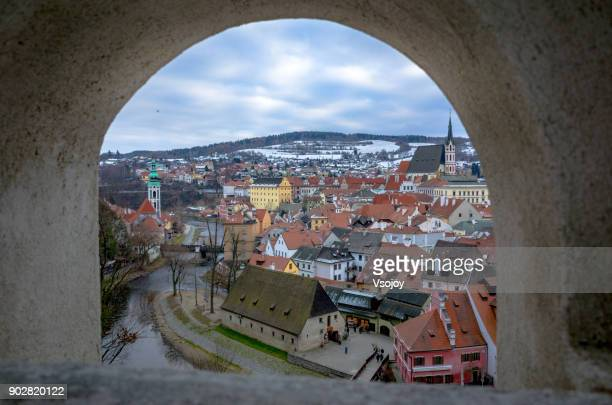 a beautiful small town, český krumlov, czech republic - cesky krumlov castle stock photos and pictures