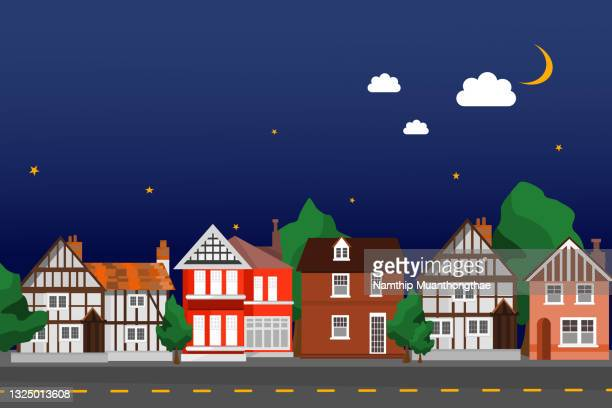 beautiful small village illustration concept shows traditional little houses under the shiny moon and stars in the nighttime for creating the small city background. - alpes maritimes stock pictures, royalty-free photos & images
