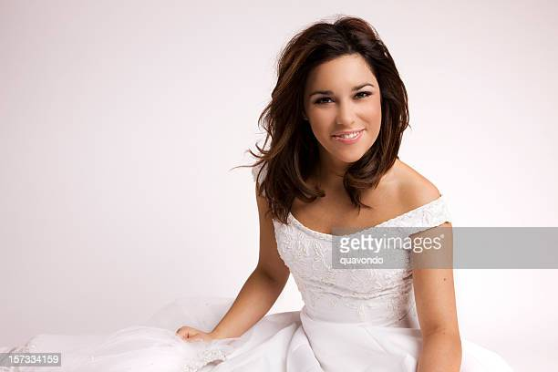 Beautiful Smiling Bride Portrait on White in Wedding Gown, Copyspace