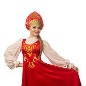 beautiful smiling caucasian girl russian folk