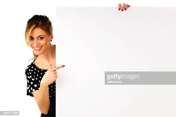 Beautiful Smiling Girl Holding a Blank Billboard