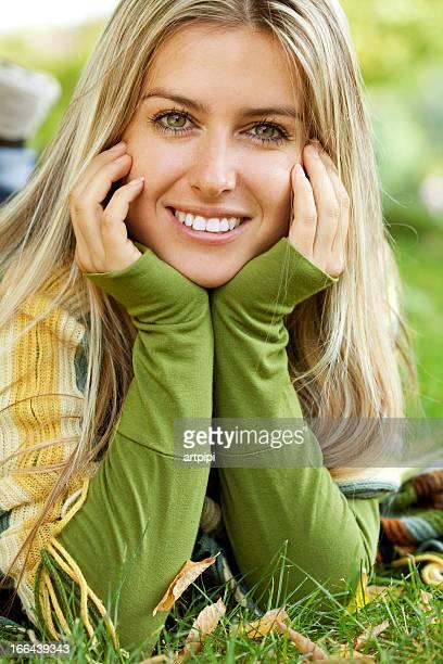 beautiful smiling woman outdoor