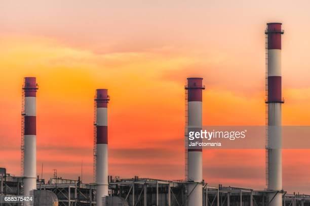 Beautiful Smokestack with sunrise sunset