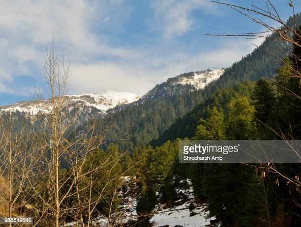 Beautiful snow clad mountain scenery