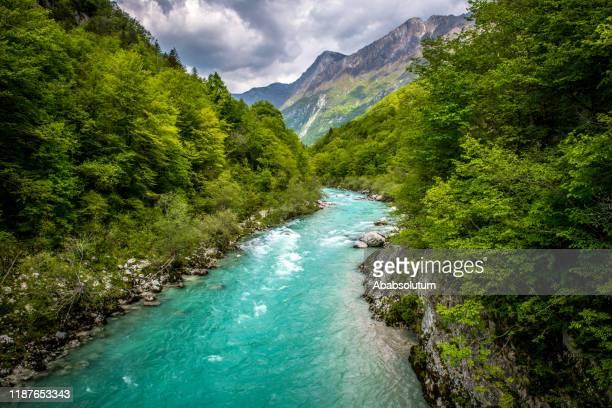 schöner fluss soca bei kobarid in slowenien, europa - slowenien stock-fotos und bilder