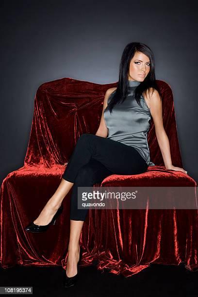 Beautiful Sophisticated Brunette Fashion Model on Velvet, Copy Space