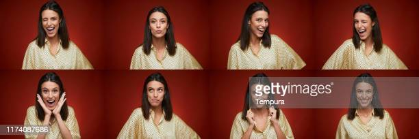 beautiful spanish woman making faces in a head shot composition. - sequential series stock pictures, royalty-free photos & images