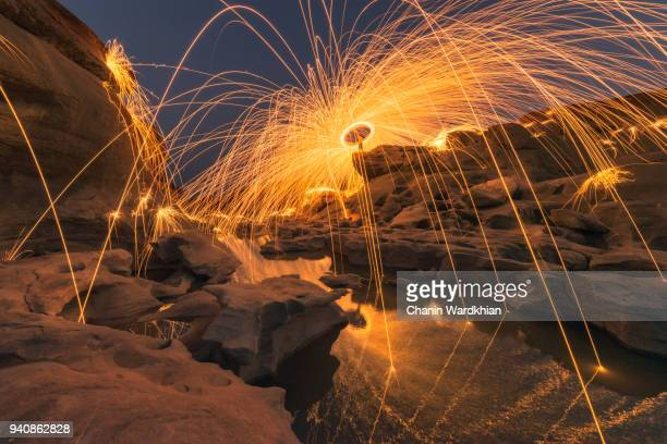 A beautiful spinning steel wool firework in the great canyon in Thailand