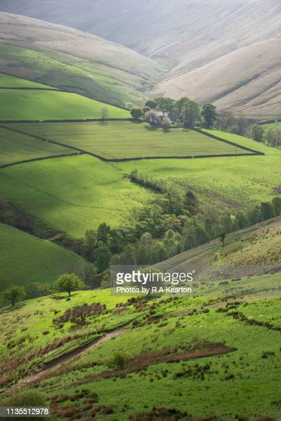 beautiful spring day in the hills of the peak district national park, england - valley stock pictures, royalty-free photos & images