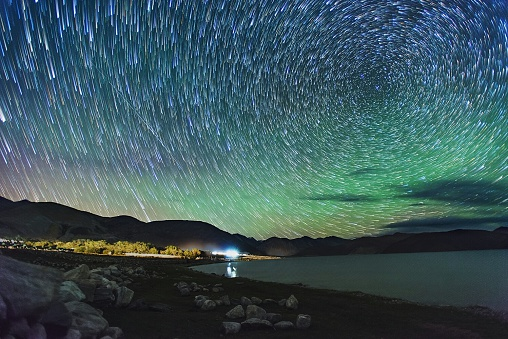 Beautiful Star Trails Above Lake - gettyimageskorea
