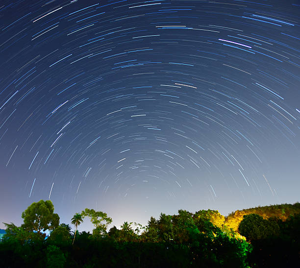 Beautiful Star Trails above tropical forest in a country rural