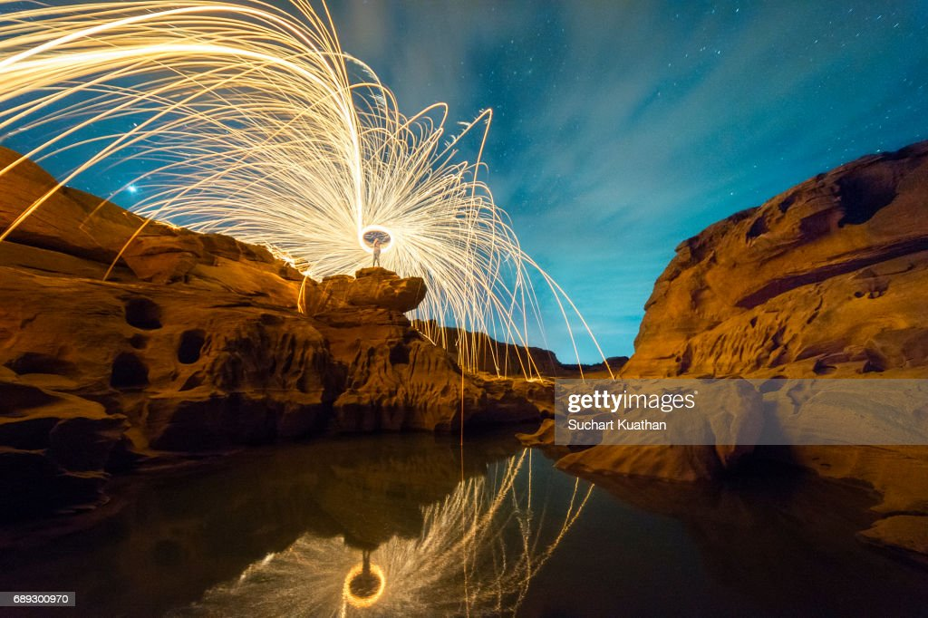 A beautiful starry and Steel Wool Photography at the rocky area in the nature : Stock Photo