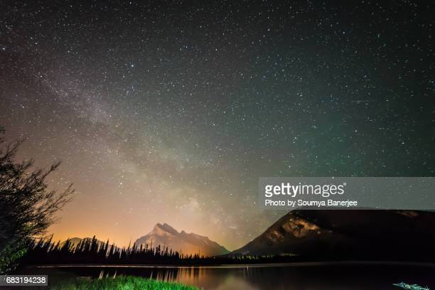 a beautiful starry night - banff stock photos and pictures