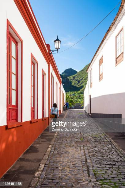 beautiful street in los silos town, in north of tenerife island (canary islands, spain) - atlantic islands stock pictures, royalty-free photos & images