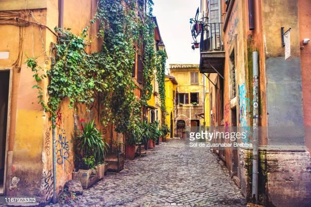 beautiful street of trastevere, rome - culture méditerranéenne photos et images de collection