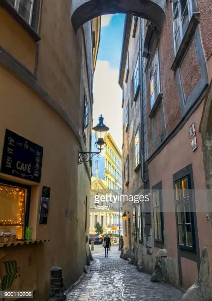 beautiful streetview around the corner, vienna, austria - vsojoy stock pictures, royalty-free photos & images