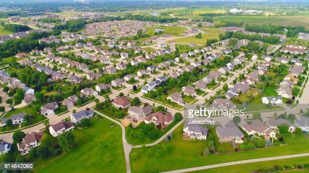 Beautiful suburban neighborhoods, nice homes, aerial view