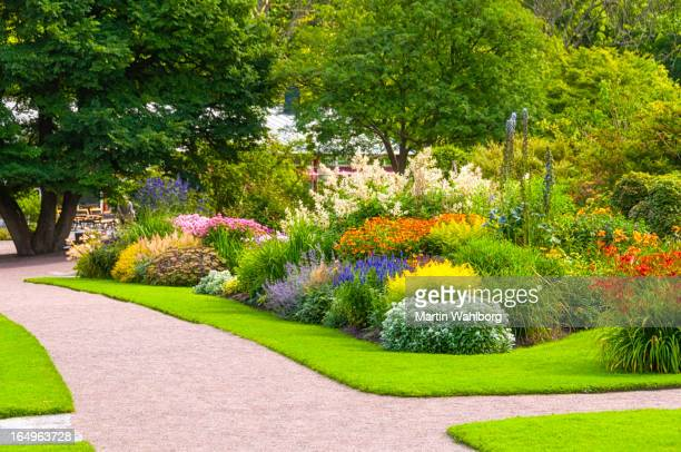 beautiful summer garden - landscaped stock pictures, royalty-free photos & images