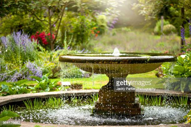 beautiful summer garden with water fountain in amongst the flowers, in the hazy sunshine - 噴水 ストックフォトと画像