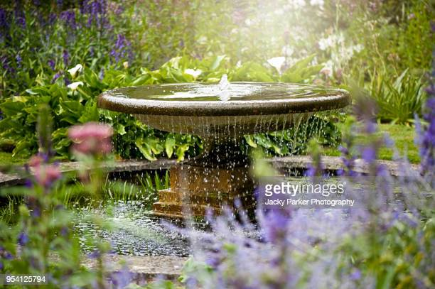 beautiful summer garden with water fountain in amongst the flowers, in the hazy sunshine - fountain stock pictures, royalty-free photos & images