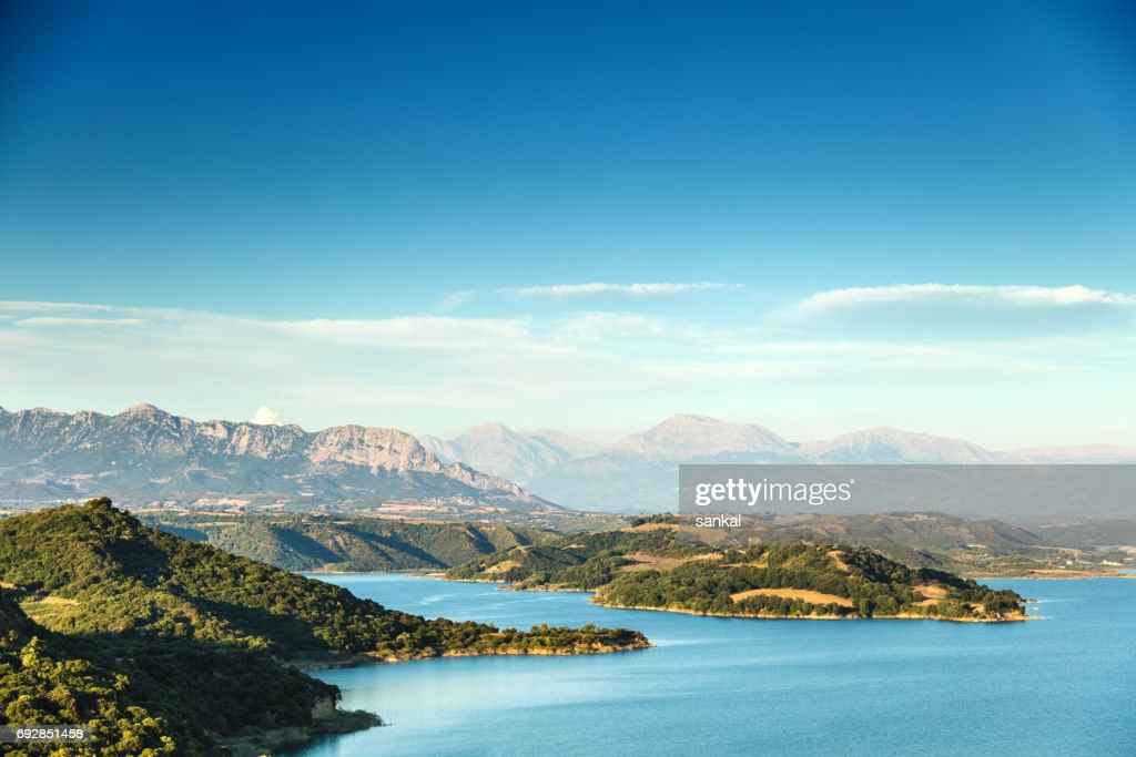 Beautiful summer landscape of lake and mountains in the evening : Stock Photo