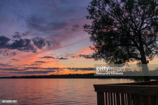 beautiful summer sunset with a colorful sky and clouds. reflection on the surface of the lake. - istock stock-fotos und bilder