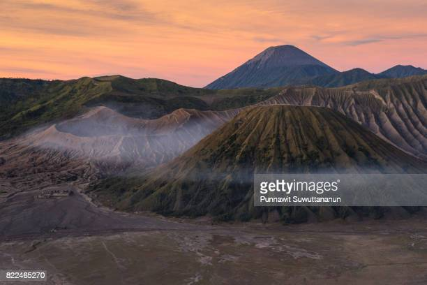 Beautiful sunrise at Bromo active volcano mountain, East Java, Indonesia