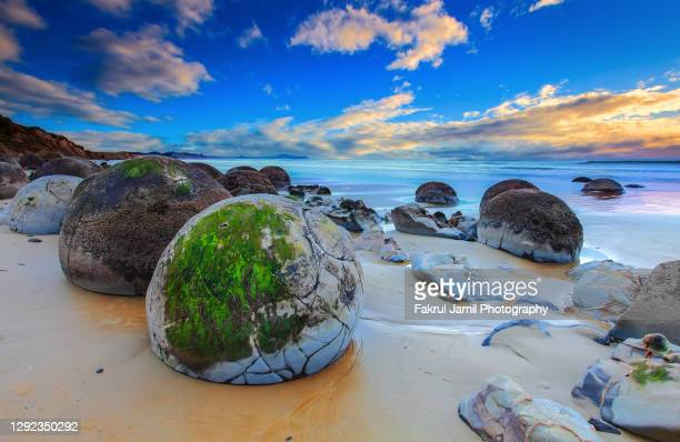 beautiful sunrise at moeraki boulders, new zealand - new zealand stock pictures, royalty-free photos & images